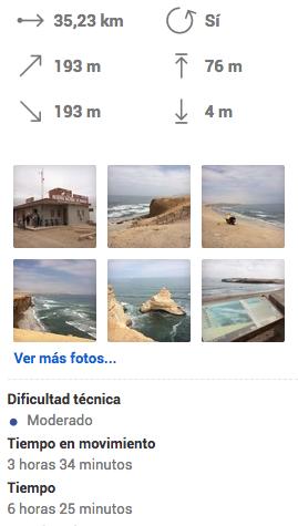 Datos ruta Reserva Natural Paracas